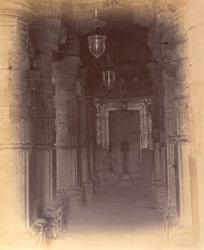 Interior view showing carved pillars, Omkareshvara Temple, Mandhata